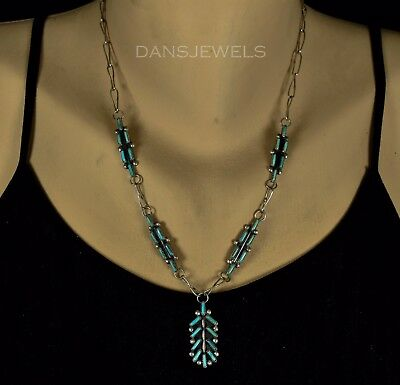 GORGEOUS OLD PAWN Navajo Handmade Needlepoint Turquoise Sterling Silver Necklace