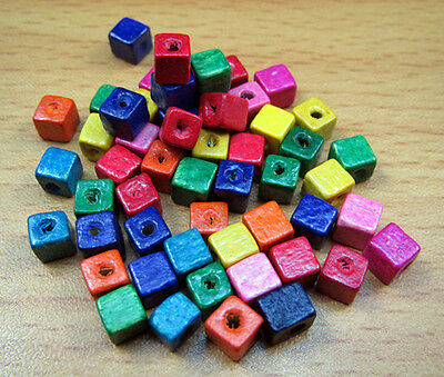 FREE LOT 200PCS Wood Mixed color Spacer Material Square Findings Beads 5X5mm