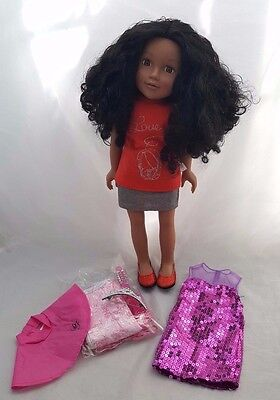 """Chad Valley 18"""" Design A Friend Ethnic Doll Poppy With Long Curly Hair +Clothes"""