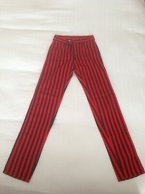 Mod Punk Vintage Modzart London Black And Red Striped Trousers 70's 80's