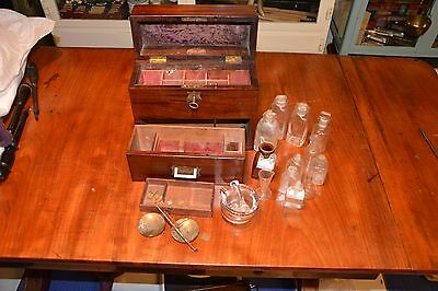Rare  Antique   1800's Apothecary Marine Wood Chest