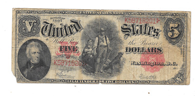 1907 $5 Red Seal United States Legal Tender Wood Chopper