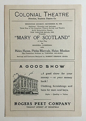 "Colonial Theatre Program, ""Mary of Scotland"" by Maxwell Anderson, Boston MA 1933"