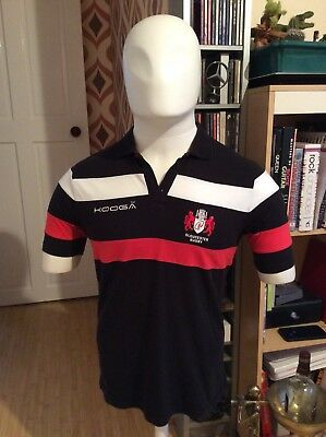 Gloucester Rugby Polo Shirt - Kooga - Used Size L - Black Red White