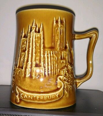 Vintage Canterbury cathedral mug. Kent map Withernsea Eastgate, 3D effect. Xmas