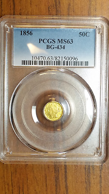 BG-434 50C Liberty Round California Fractional 1/2 Dollar 1856, PCGS MS63 R - 4