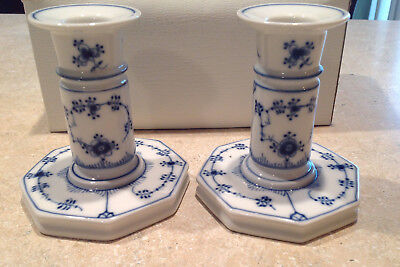 Set of 2 Blue and White Candle Holders - Marked Royal Copenhagen Demark 1 - 3303