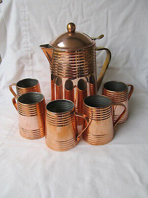 Revere Ware Copper Clad Lidded Pitcher & 5 Brass handled Copper Mugs