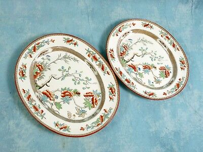 Antique 1860 COPELAND Indian India Tree Green Rust Oval Platters Victorian
