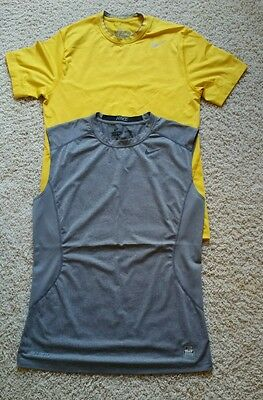 EUC Lot of 2 Men's Nike Dri-Fit Pro Combat Athletic T-Shirts SZ M Yellow/Gray