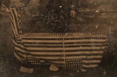 Antique 44 Star American Parade Flags 8-7-7-7-7-8Pattern Wyoming Tintype Photo