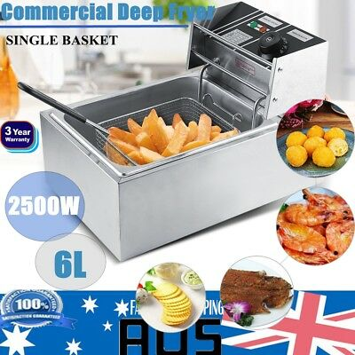 6L Stainless Steel Commercial Electric Deep Fryer Frying Basket Chip Cooker Fry