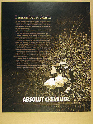 2002 Absolut CHEVALIER author Tracy Chevalier short story print Ad
