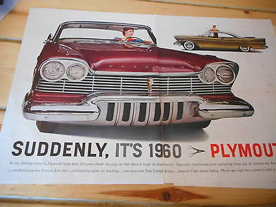 "1960 Plymouth Fury Centerfold Ad, 13 by 21"", Mopar, Land Yacht"