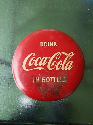 VINTAGE ORIGINAL 1950's DRINK COCA COLA IN BOTTLES 12 INCH METAL BUTTON SIGN