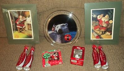 """ASSORTED """"COCA COLA"""" CHRISTMAS COLLECTION - Plate, Cards & More - Lot of 9"""