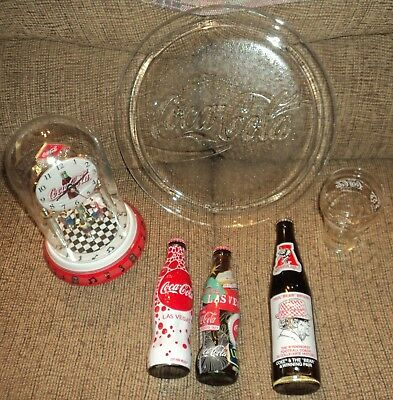 """ASSORTED """"COCA COLA"""" COLLECTION - Clock, Plate, Bottles & More - Lot of 6"""