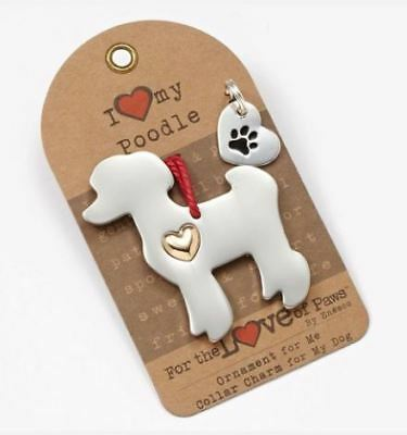 I Love My Poodle Ornament & Collar Charm Set - Enesco