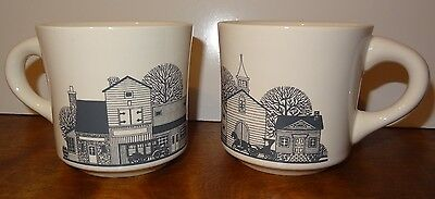 Vintage Pair Village Coffee Mugs Cups Church Horse Buggy U.S.A. Country 9 oz