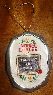 New Dinner Choices Christmas Ornament Finished Cross Stitched  Handmade