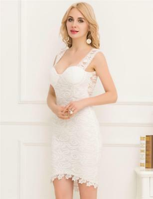 Off White Bodycon Lace Dress with Beaded Lace Trim