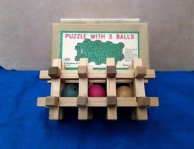 Vintage Nm Japan Toy Puzzle W 3 Balls Wood Shackman New York Rare Collectible