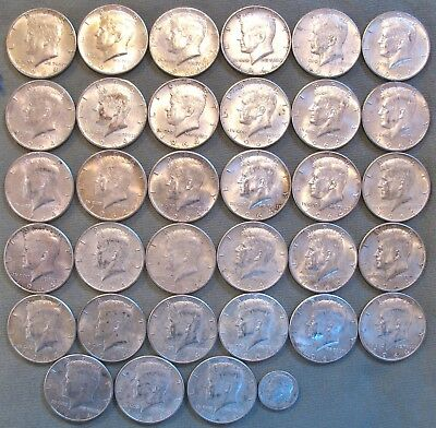 *** A LOT of  90% SILVER *** 33 Kennedy Half Dollars *** A Very Good LOT ***