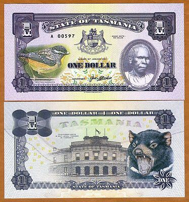 Tasmania, Australia, $1, 2017, Private Issue, UNC > Tasmanian Devil, Truganini