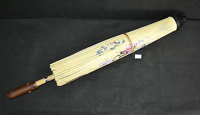 ThriftCHI ~ Hand Painted Butterfly Parasol Umbrella Bamboo Handle Paper - Ginny