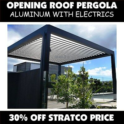 Opening Roof Pergola 3x3m Vergola Electric Outback Patio Sunroof Verandah Alloy