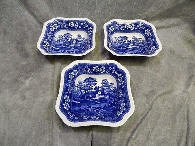 """3 Copeland Spode's Tower Serving Bowls 8.25"""" square~ Glossy~Oval Mark"""