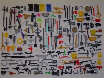 200 Used Lego Parts Minifig Accessories Weapon Body Wear Blasters Guns Etc. AC1