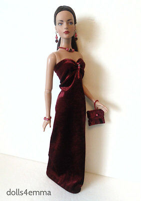 """Burgundy Gown, Purse & Jewelry for 16"""" TYLER SYDNEY clothes Fashion NO DOLL d4e"""
