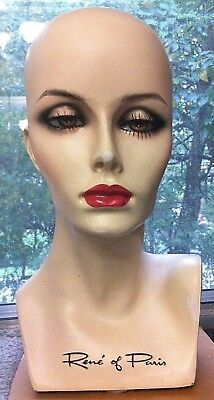 PRETTY LADY WIG HEAD BUST by RENE OF PARIS HAND PAINTED MODEL mannequin