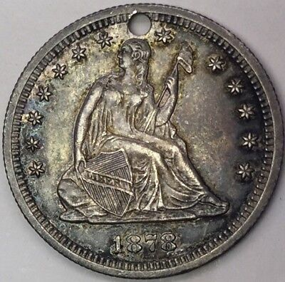 1878 US Quarter Silver LOVE TOKEN Coin: To Comstock Lode Mining Exec. H.M. LEVY