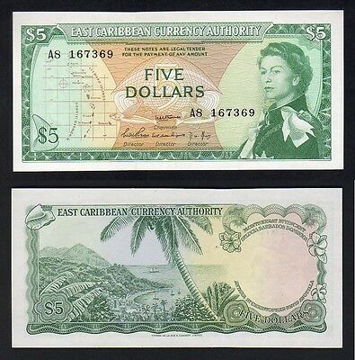 EAST CARIBBEAN STATES P-14a. (1965) 5 Dollars...SCARCE...UNC