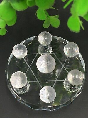 Natural white Crystal healing Reiki Ball with a plate 7 Star Array*4497