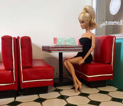 Barbie's red benches table works with COCA-COLA SODA FOUNTAIN DOLL