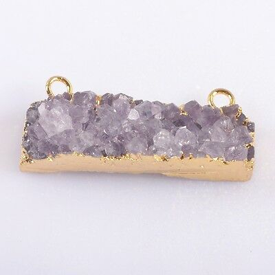 Rectangle Natural Amethyst Druzy Connector Gold Plated T039498