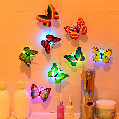 1PC 3D Flashing LED Butterfly Wall Night Light Stickers Fridge Kids Room Decor