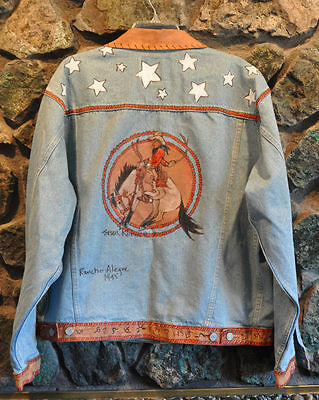 Custom Painted Denim Jacket  - Bucking Horse & Cowboy - Mens Large - New