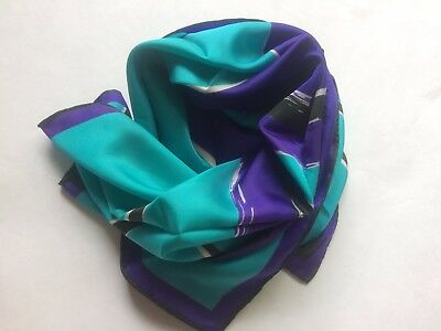 Vintage Usna Black Aqua Blue Purple Silk Like Scarf Shawl Wrap