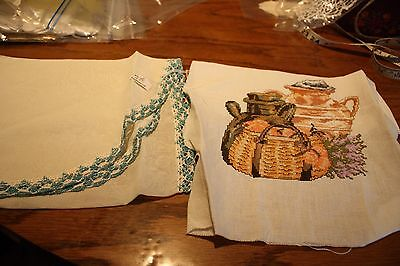 Vintage-Vanity scarf and needlepoint piece. (624)