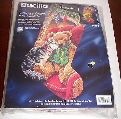 """Bucilla 1997 Needlepoint Stocking Kit,THE WARMTH OF CHRISTMAS,Rossi, 60753,18"""""""
