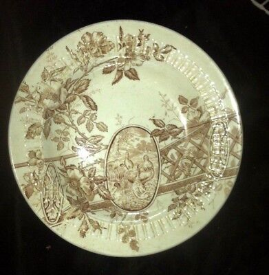 ant Aesthetic Brown Transferware    in rim soup ADELAIDE W F Winkle
