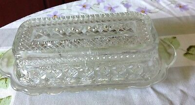 Vintage 1960 Anchor Hocking Wexford Diamond Pressed Glass Butter Dish With Lid
