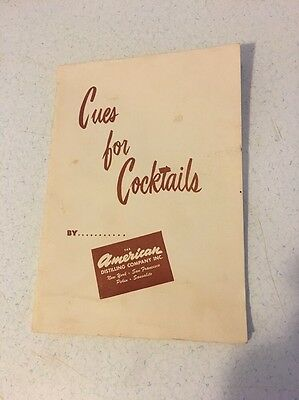 """VTG """"CUE'S FOR COCKTAILS"""" By The American Distilling Company Inc 1950 Good Plus!"""