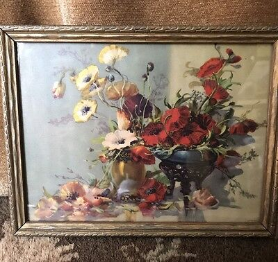 Vintage Small Wood Framed Poppies ~Poppy Painted Antique Wooden Frame