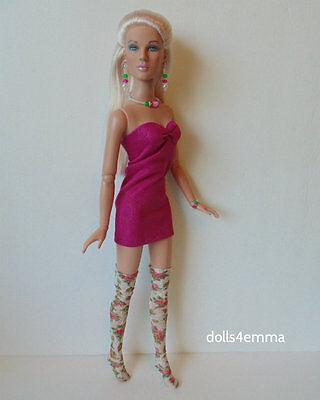 "TYLER DOLL CLOTHES Sexy DRESS + THIGH-HIGHS + JEWELRY 16"" HM Fashion NO DOLL d4e"