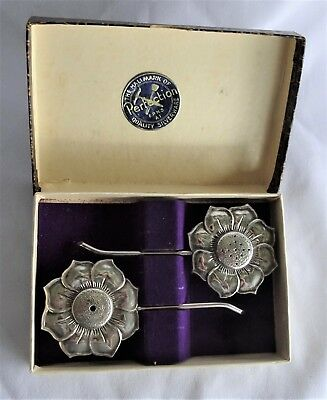 Stunning Silverplate FLOWER Salt and Pepper Shakers BOXED